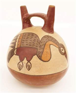 Nazca Pre Columbian Bird Stirrup Vessel
