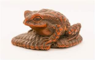 Suzuki Masakatsu Toad on Sandal Boxwood Netsuke