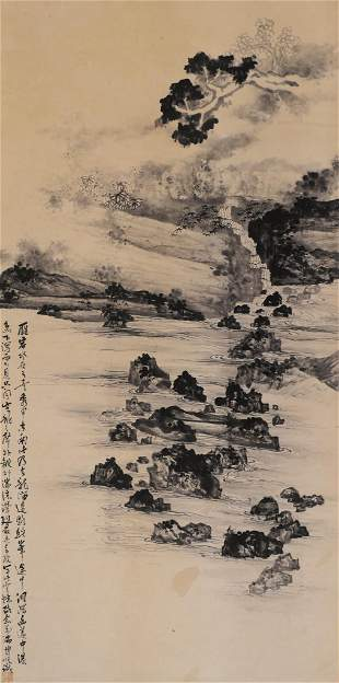 Bowu Ren ''Landscape with Stream'' Scroll Painting