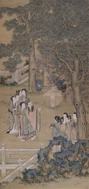 Chinese Qing Courtesans in Landscape Scroll Painting