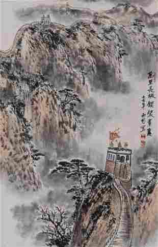 Xilin Wang ''Mountainous Landscape'' Scroll Painting