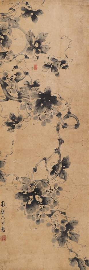 Liu Zhou ''Grape Vine'' Scroll Painting