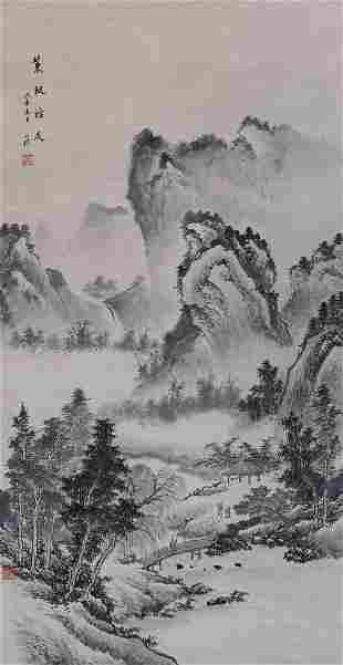 Zheng Zhong ''Mountainous Landscape'' Scroll Painting