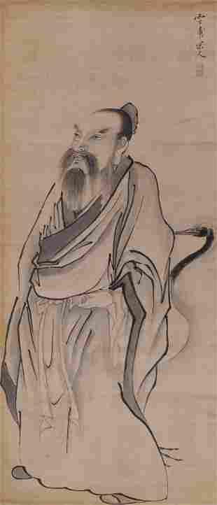 Yun Qing ''Scholar with Bird'' Scroll Painting