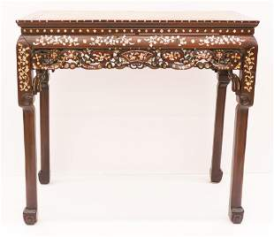 Chinese Qing Inlaid Rosewood Altar Table