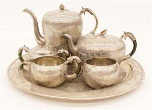 6pc Old Chinese Pewter Dragon Teaset