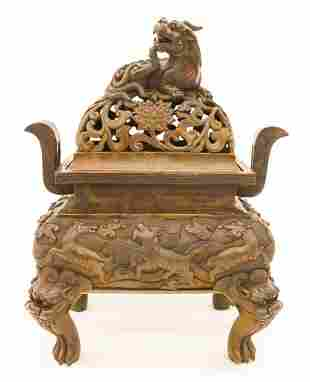 Chinese Bronze Fang Ding Censer
