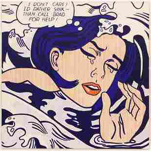 After Roy Lichtenstein ''Drowning Girl'' Oil on Canvas