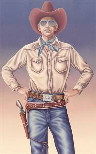 Liisa Phillips ''Cowboy'' 1978 Oil on Canvas