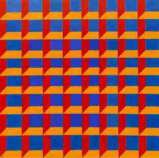 Wendell Brazeau ''Blue, Yellow, Red Squares'' Acrylic