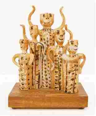 Hal Fromhold ''Figural Candleholders'' 1970's Stoneware