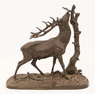 Pierre Jules (PJ) Mene ''Elk with Tree'' Bronze