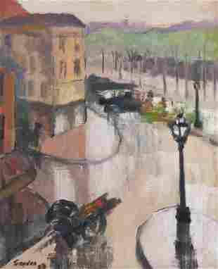 Doran Trogdon ''Street Scene'' 1923 Oil