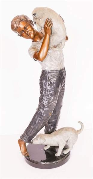 Howard Jason ''Puppy Love'' 1997 Bronze Sculpture