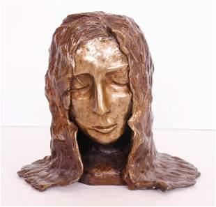 Modernist Bronze Woman Bust Sculpture