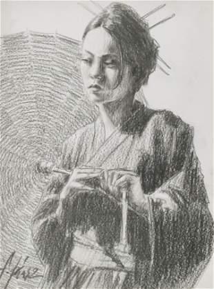 Fabian Perez ''Study for Michiko'' Graphite Drawing