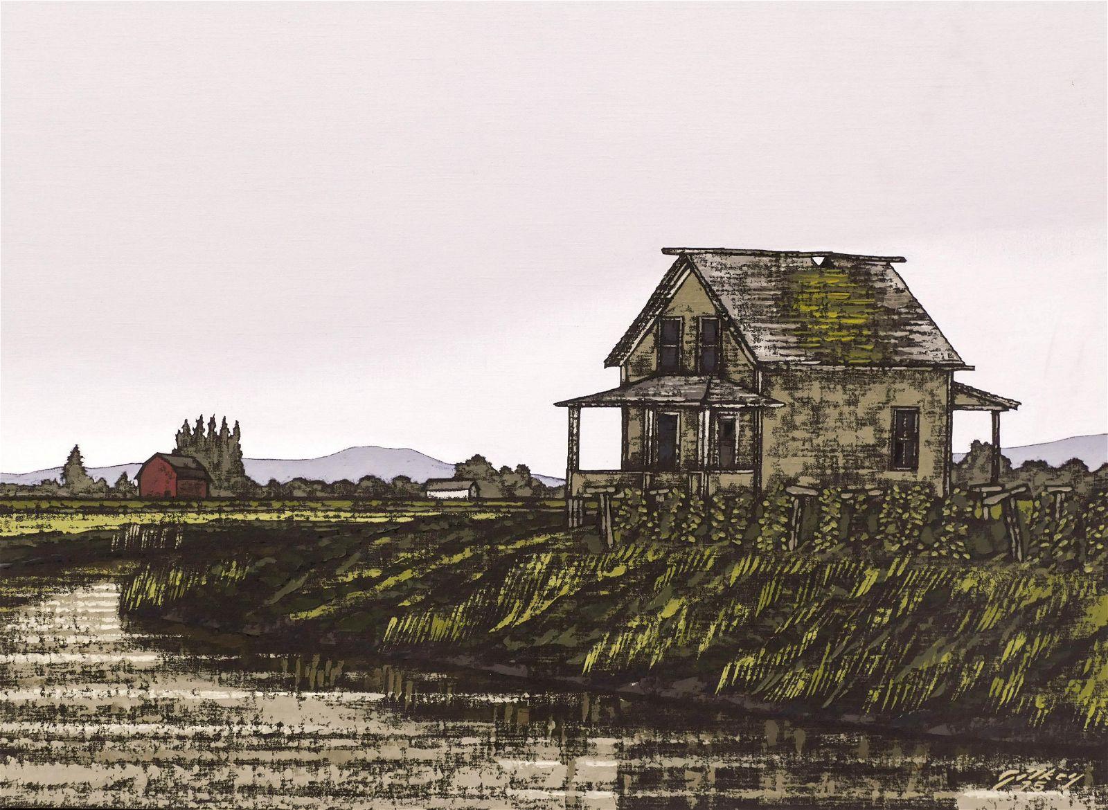 Richard Gilkey ''Wily Slough'' 1975 Oil on Canvas