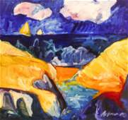 Richard Morhous ''Coastal Scene'' 1985 Large Oil