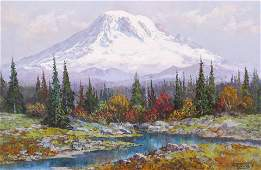 Fred Oldfield ''Majestic Mt. Rainier'' 1979 Large Oil