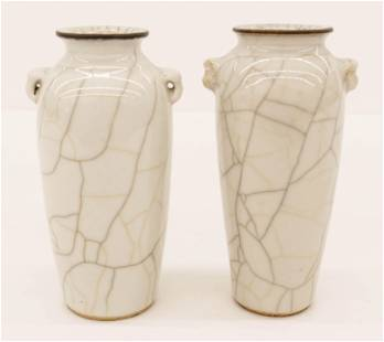 2pc Chinese 18th Cent. Ge Yao Crackle Vases