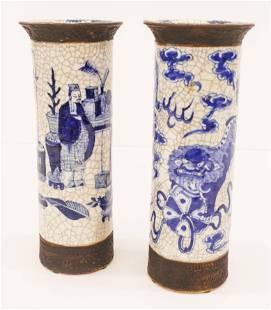 2pc Chinese Qing Nanking Crackle Cylinder Vases