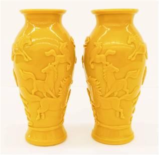 Pair Chinese Yellow Peking Glass Horse Vases