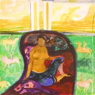 Robin Philipson ''Odalisque'' 1984 Watercolor