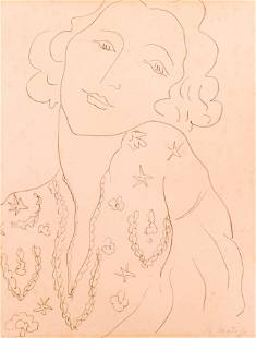 Henri Matisse Attr. ''Portrait of a Woman'' Lithograph