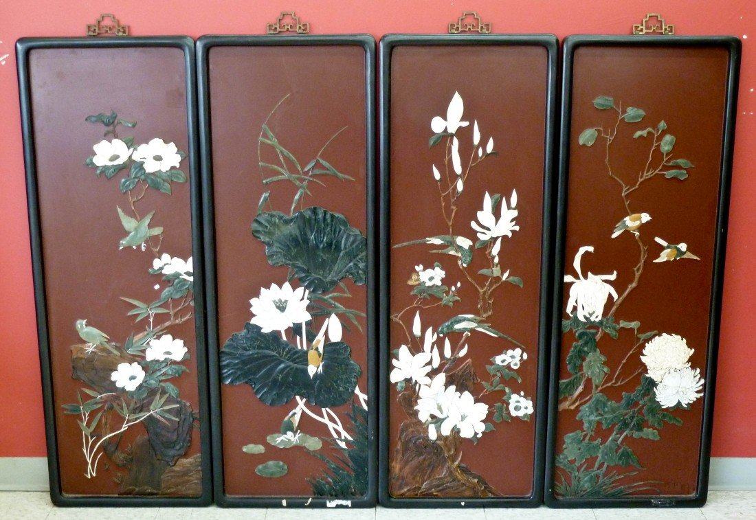 1: Japanese Four Seasons Lacquered Panel Set with Inlai