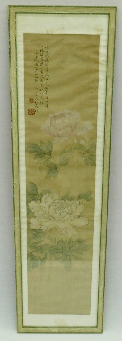 2: Chinese Painted Scroll Painting with Chrysanthemums
