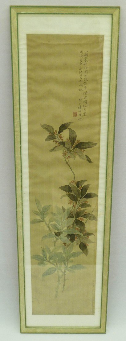 3: Chinese Painted Scroll Painting with Foliage & Poem