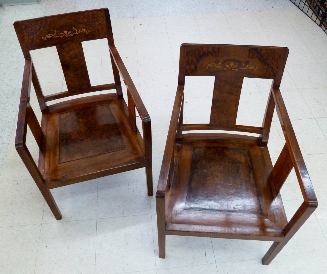 4: Pair of Chinese Carved Rosewood Armchairs Inlaid wit