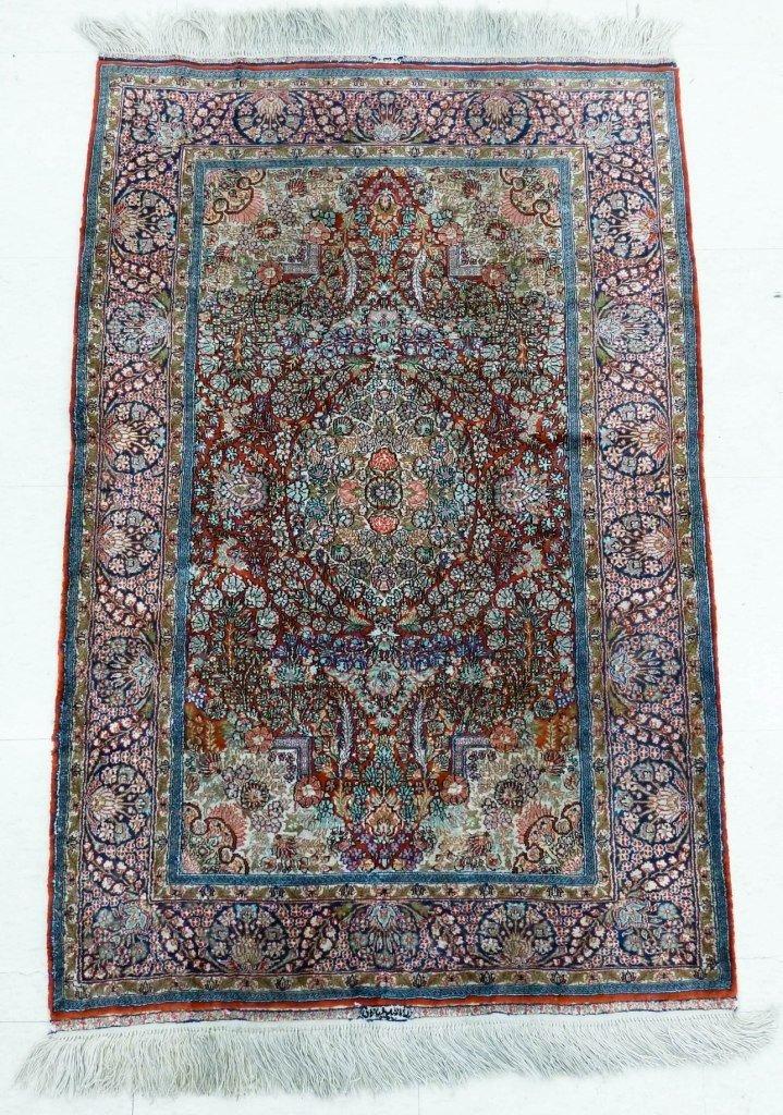 17: (2) Chinese (Persian Design) Fine Silk Oriental Rug