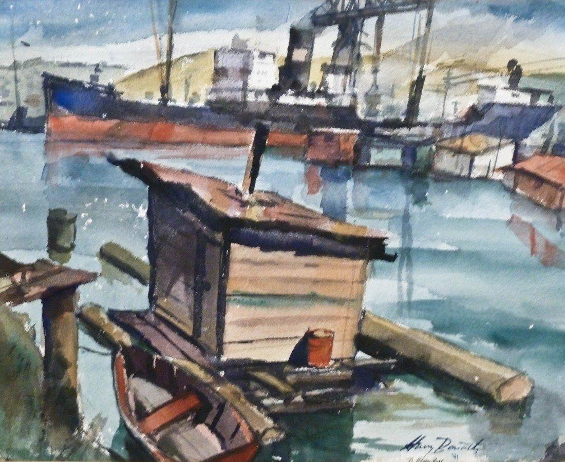 18: Harry Bonath (1903-1976 WA/CA) Untitled Harbor Scen
