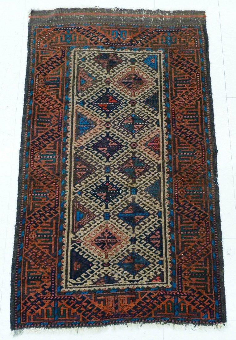 20: Antique Beluch Oriental Throw Rug 4'8''x2'8'' - Eve