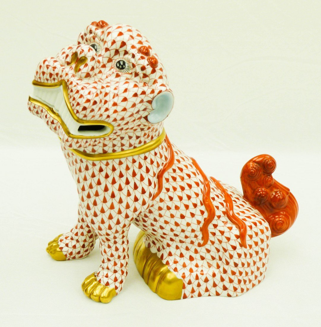 67: Herend Fish Net Lion Foo Dog Large Fine Porcelain F