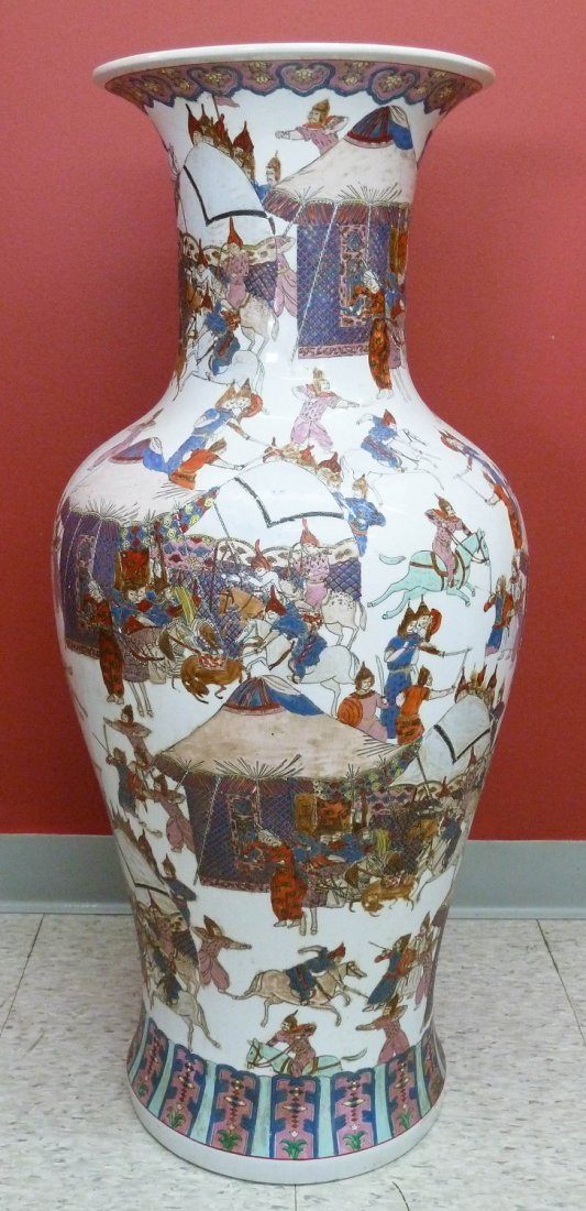 1: Chinese Famille Rose Porcelain Floor Vase with Warri