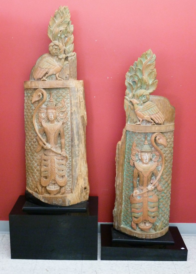 2: Pair of Tibetan Polychrome Carved Wood Temple Panels