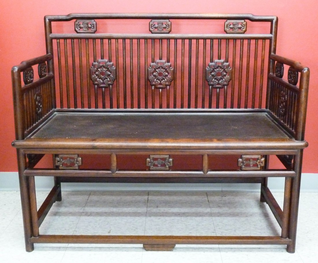 5: Chinese Carved Rosewood Settee Bench 36''x43''x21''