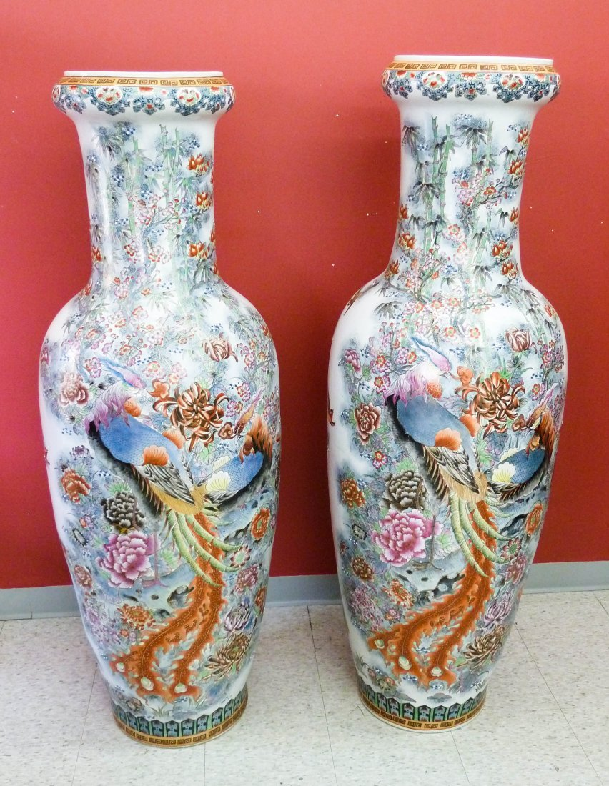 6: Pair of Chinese Porcelain Palace Vases with Enameled