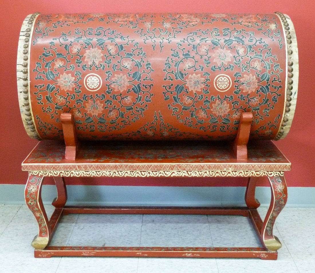 8: Chinese Red Gilt Lacquered Double Drum on Stand 37''