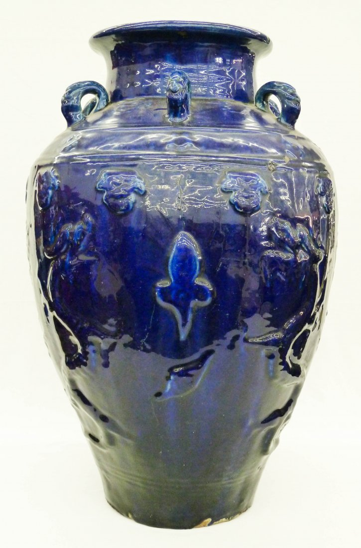 14: Chinese Blue Glaze Martaban Storage Jar - Stamped D