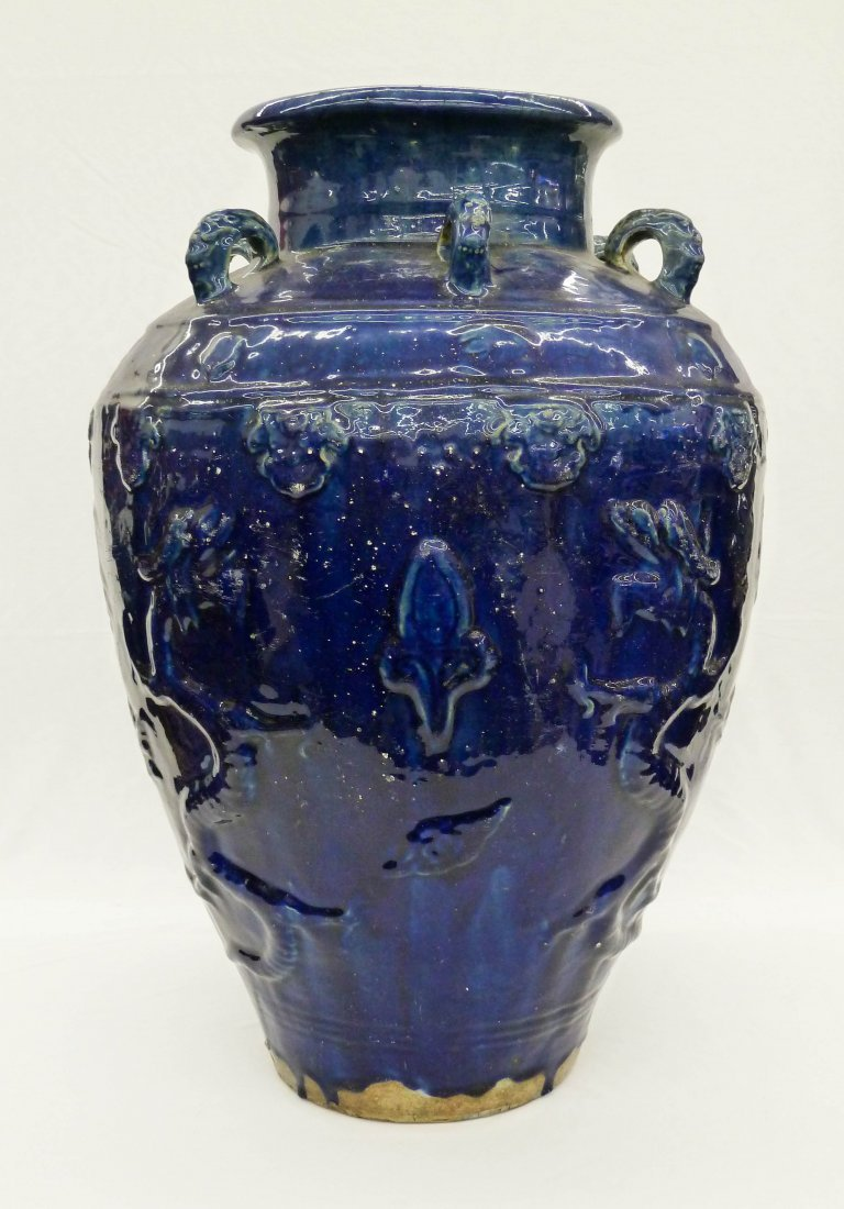 15: Chinese Blue Glaze Martaban Storage Jar - Stamped D