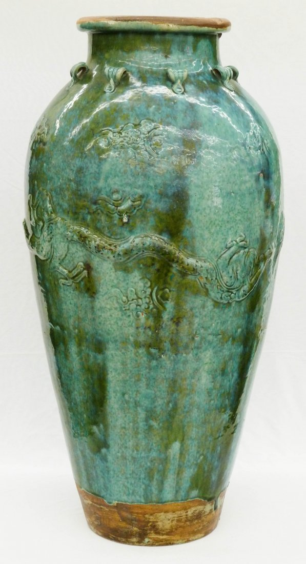 16: Chinese Green Flambe Glaze Martaban Storage Jar wit