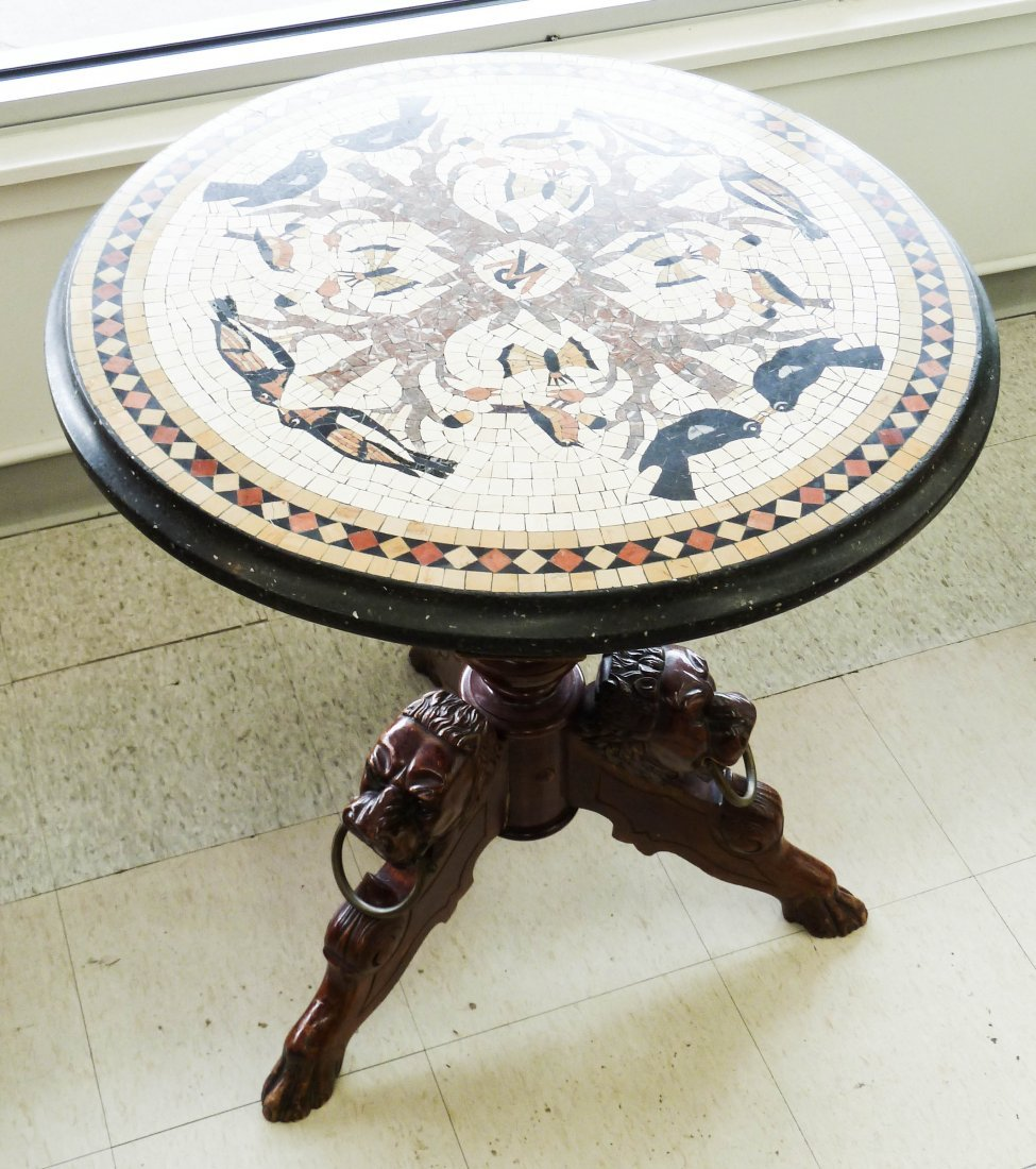 17: 19th Cent. Italian Pietra Dura Round Specimen Table