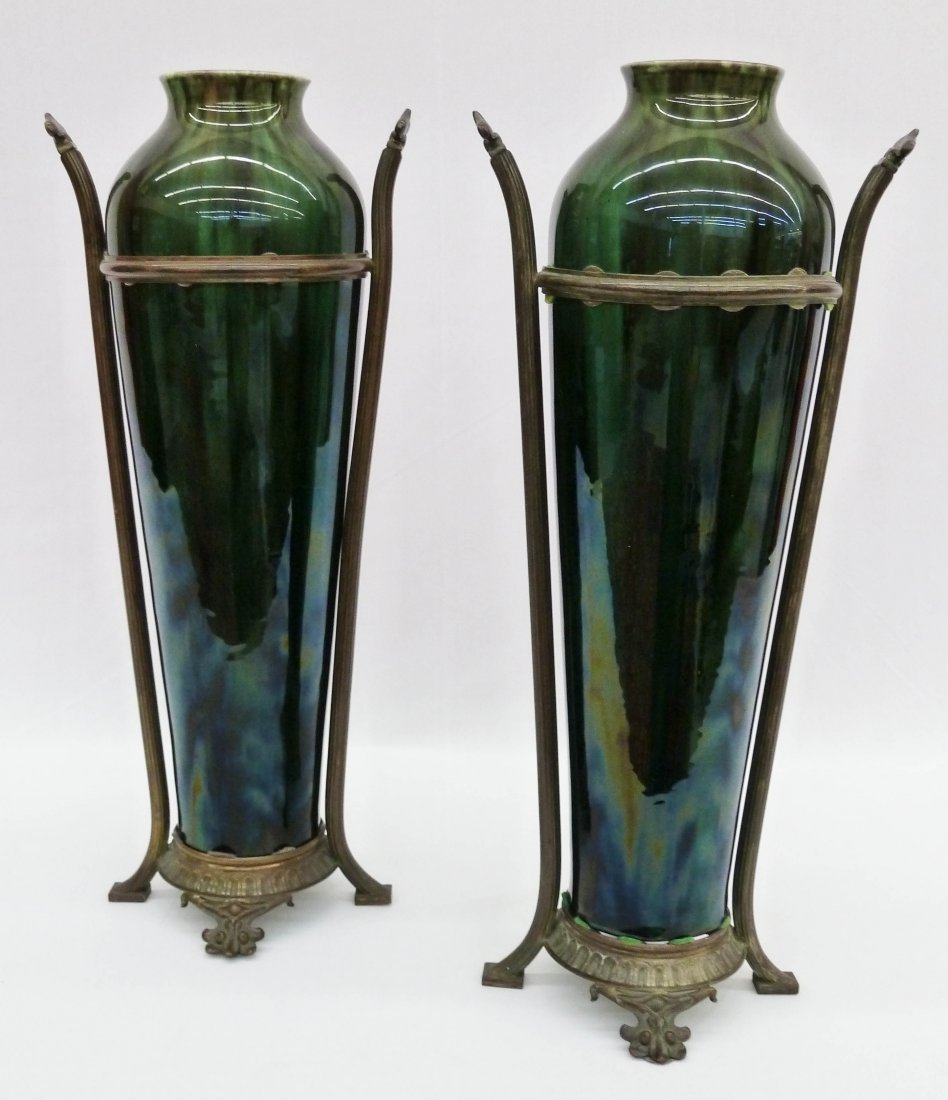 18: Pair of Art Nouveau Belgian Pottery Mantel Vases in