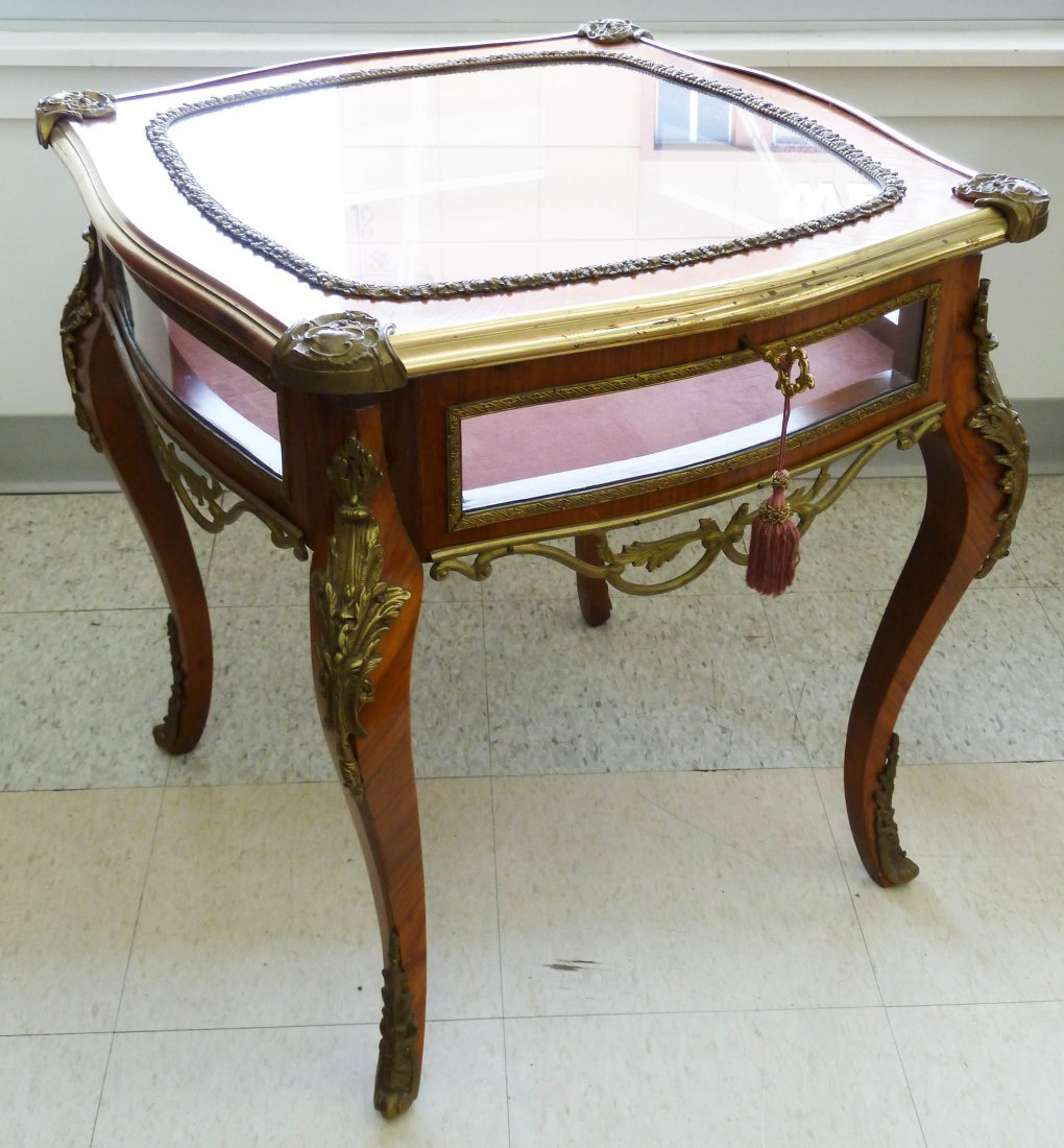 22: French Gilt Brass Mounted Vitrine Table 24.5''x23.7
