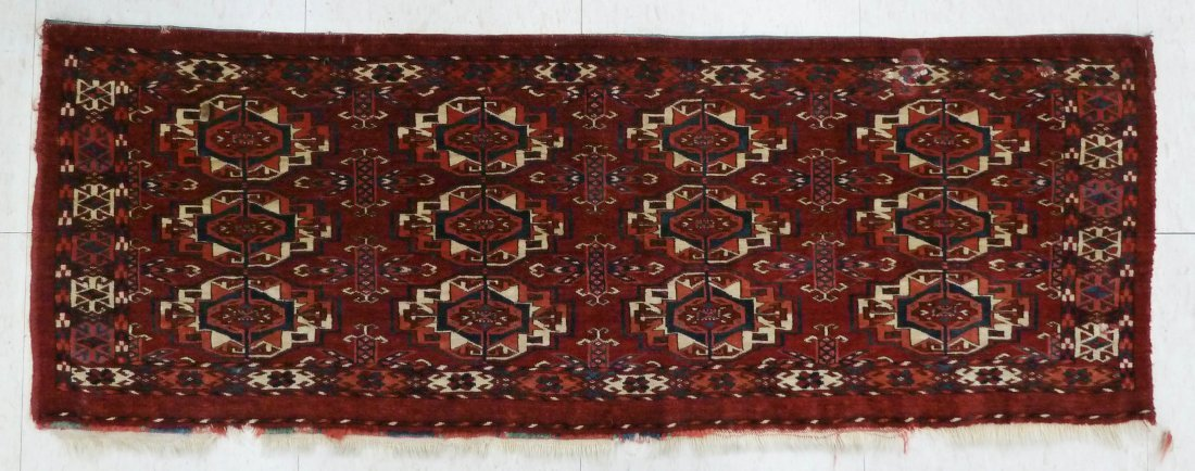 23: Antique Bokhara Oriental Rug Bag Face 48''x17.5'' -