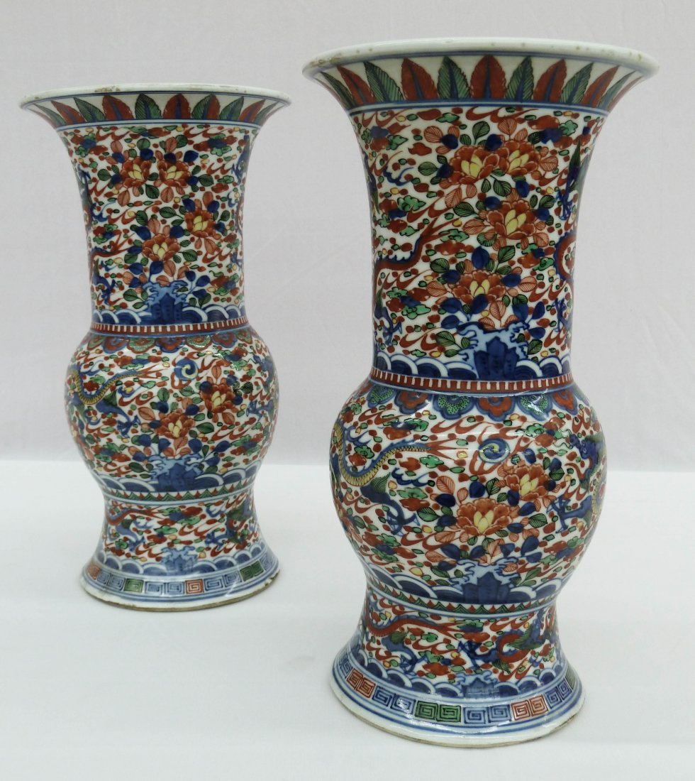 39: Pair of Chinese Wucai Gu Beaker Vases with Dragons - 2