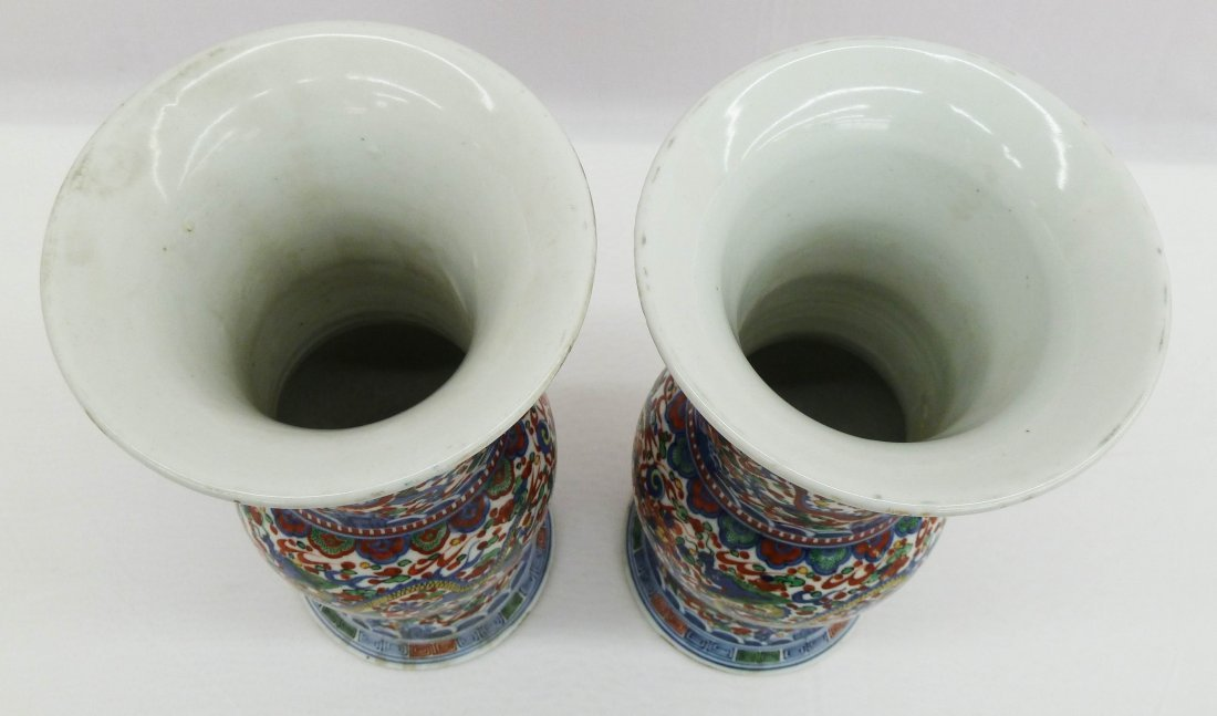 39: Pair of Chinese Wucai Gu Beaker Vases with Dragons - 3